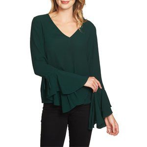 NWT Nordstrom 1.STATE Cascade Sleeve Crepe Blouse